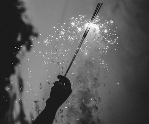 art, black and white, and firework image
