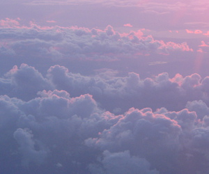 banner, clouds, and purple image
