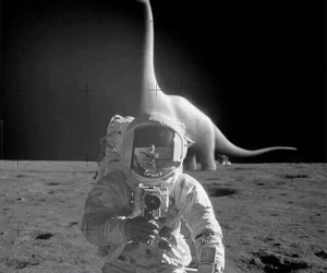 moon, dinosaur, and space image