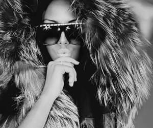 girl, fur, and sunglasses image