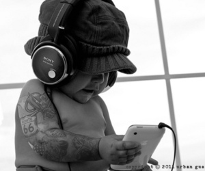baby, headphones, and music image