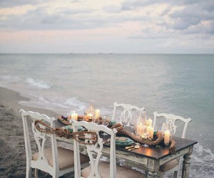 beach, candles, and dinner image