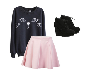 black, cats, and fashion image