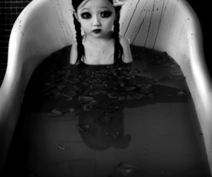 blood, bath, and black and white image