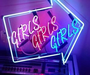 girl, neon, and light image
