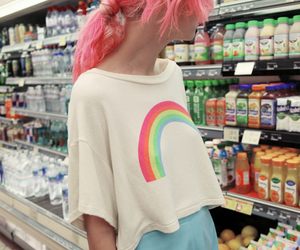 girl, rainbow, and pink image
