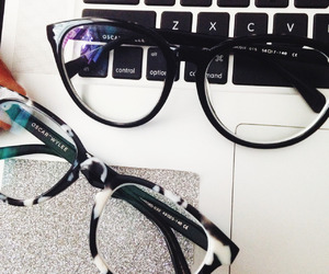 glasses, fashion, and laptop image