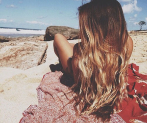 beach, hair, and girl image