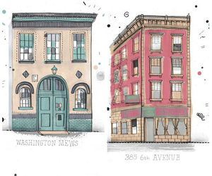 building, illustration, and draw image