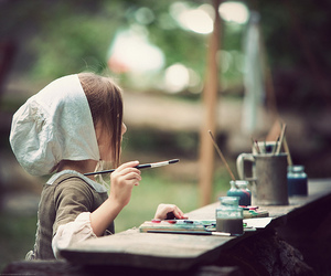 girl, paint, and child image