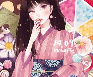 anime, kimono, and candy image
