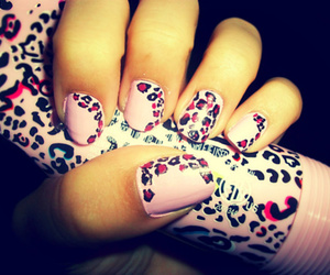 nails, animal print, and pink image