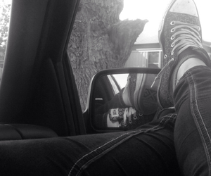 chill, b&w, and converse image