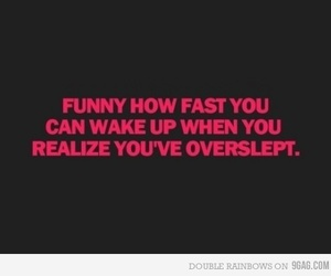 text, funny, and overslept image