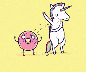 unicorn, donuts, and rainbow image