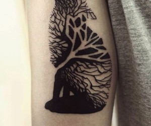 tree wolf tattoo image