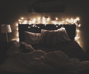bed, lights, and romance image