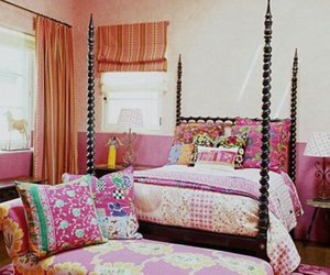 pink, bed, and decoration image