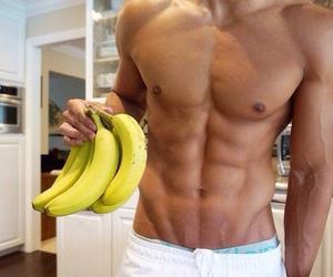 banana, boy, and fruit image