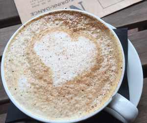 cappuccino, coffee, and heart image