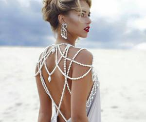backless dress, beautiful, and pearls image