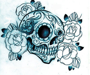 skull, flowers, and tattoo image