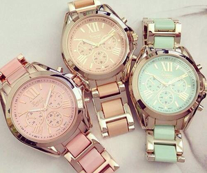 watch, pink, and gold image