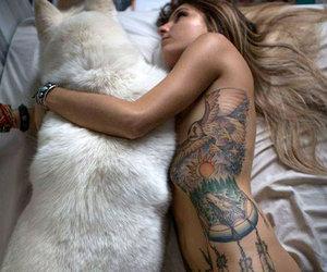 tattoo, girl, and dog image