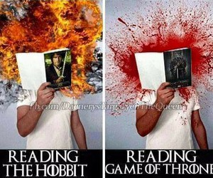 book, the hobbit, and game of thrones image