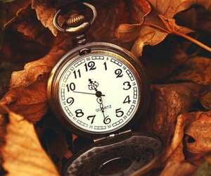clock, time, and autumn image