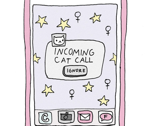 call, cat, and phone image