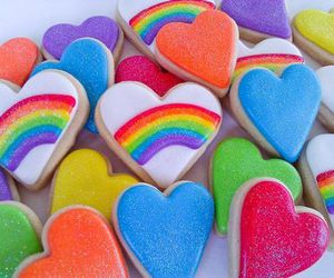 rainbow, background, and heart image