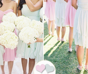 bridesmaids, dresses, and flowers image