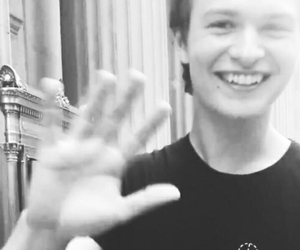 ansel elgort, black and white, and tfios image