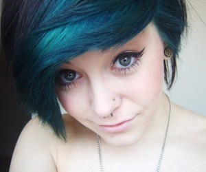 blue hair, make up, and perfect image