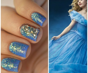 blue, blue nails, and cinderella image