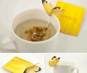 tea, butterfly, and cup image