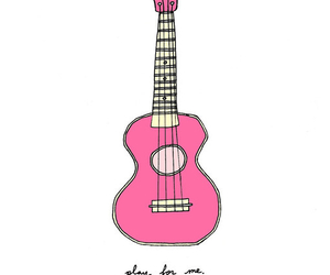 guitar, pink, and drawing image