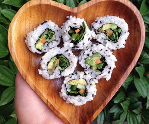 bowl, sushi, and veggies image