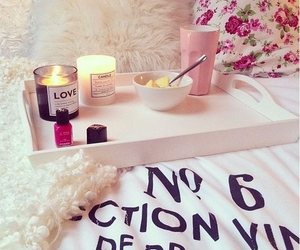 pink, candle, and bed image