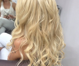 blonde, curly hair, and hair image