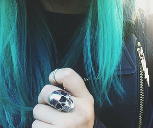 accessorie, blue hair, and metal image