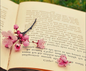 book, flowers, and pink image