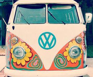 hippie, flowers, and van image