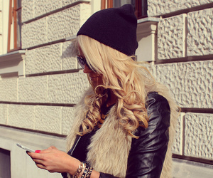 arm candy, beanie, and beige image
