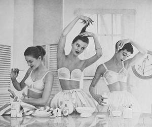 hair, ballet, and black and white image
