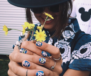girl, flowers, and nails image