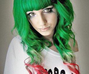 green hair, hair, and girl image