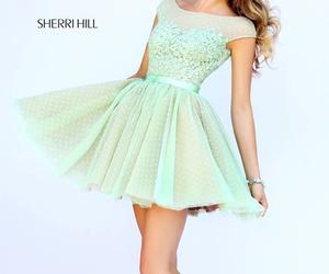 dress, sherri hill 11267, and green image