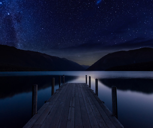 landscape, stars, and mountains image